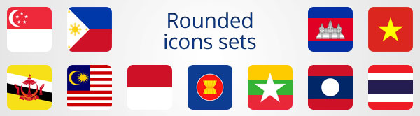 Rounded ASEAN icons sets