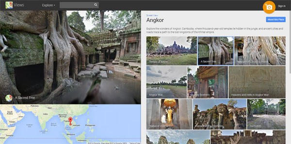 Selected views of Angkor in Google Maps