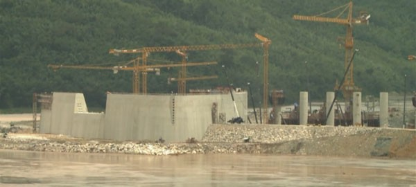 Dam to produce hydroelectricity on the Mekong river