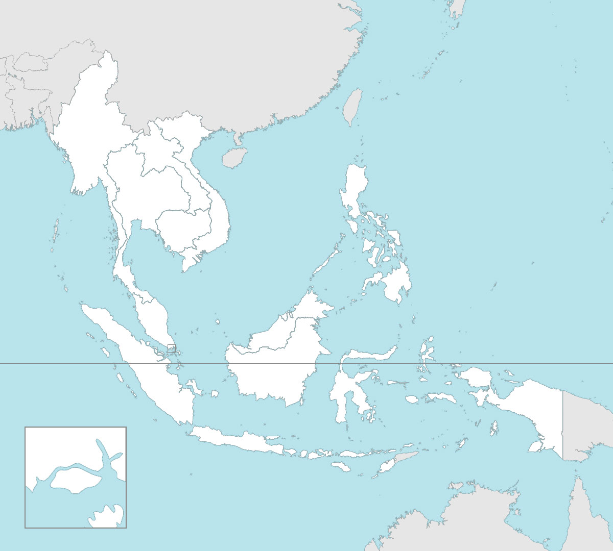 Blank map of ASEAN with countries borders