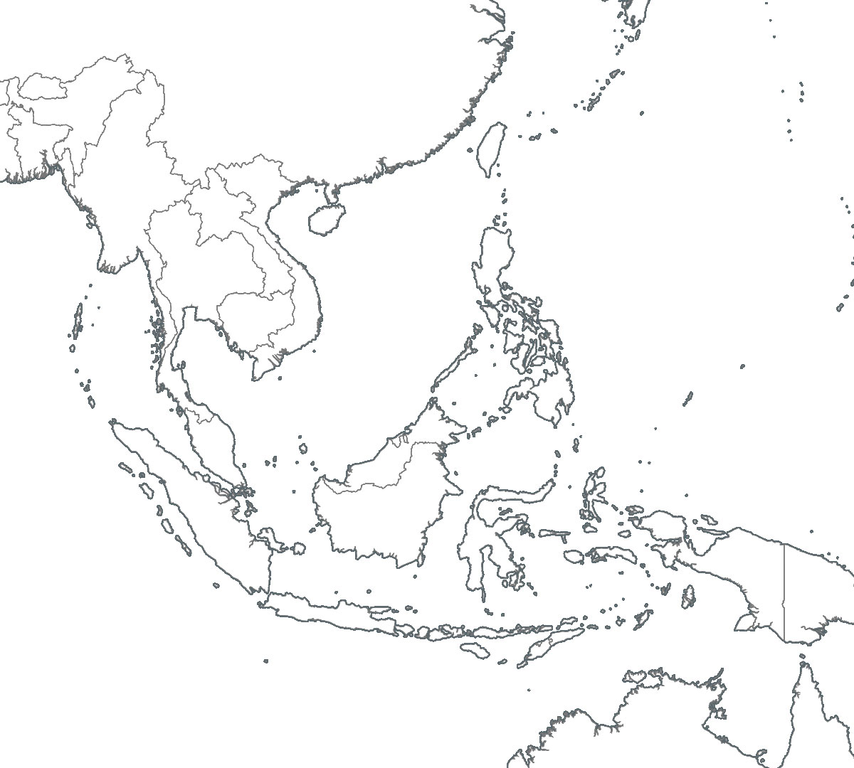 South East Asia Political Map Blank