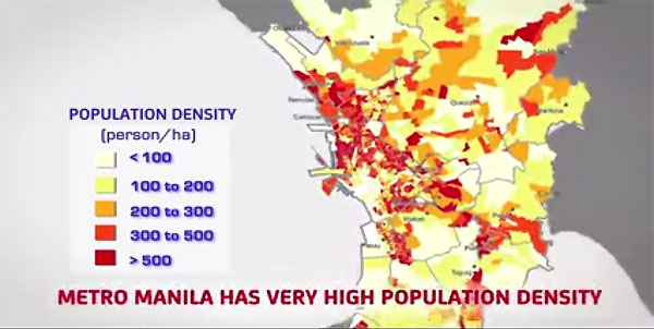 Population density in Metro Manila