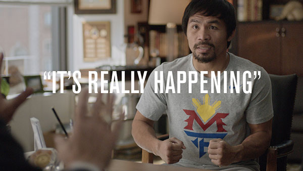 Manny Pacquiao in a commercial for Foot Locker