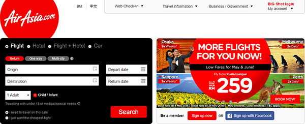 AirAsia website capture