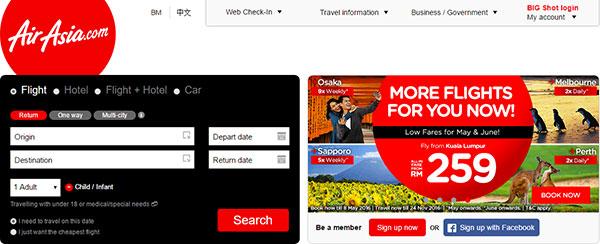 AirAsia website capture