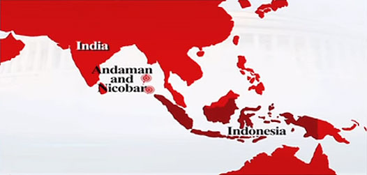 The Andaman and Nicobar islands of India close to Indonesia