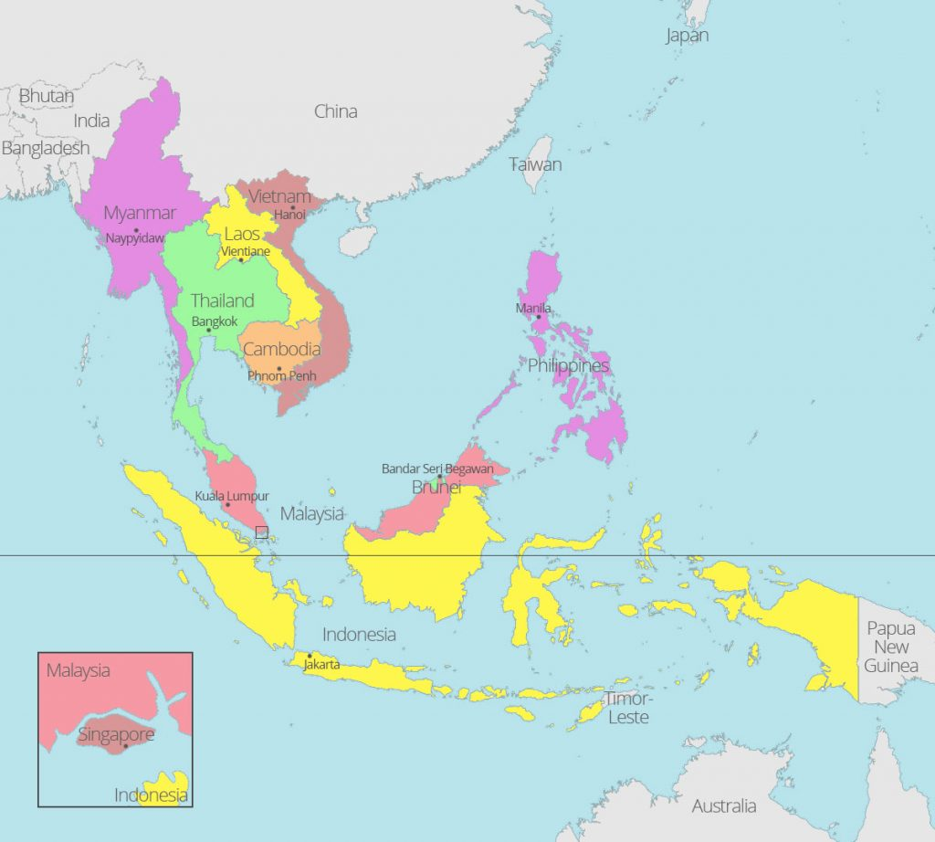 Map of ASEAN countries and capitals
