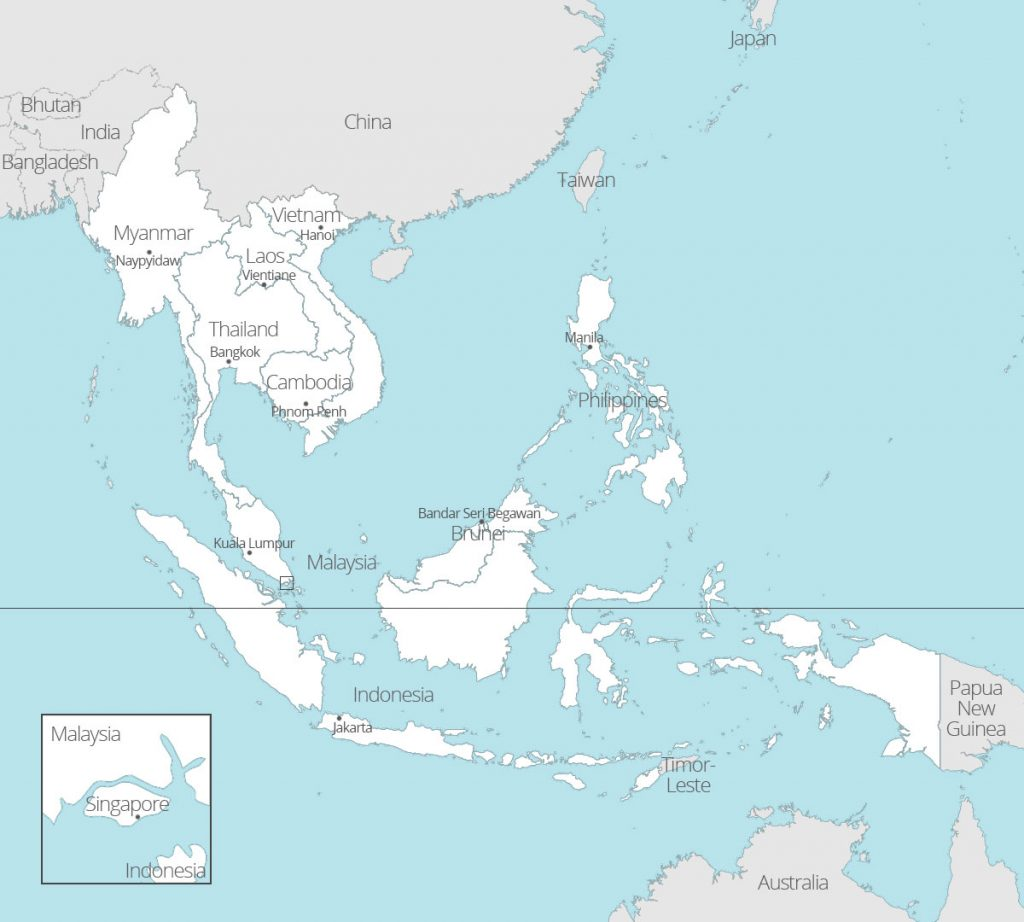 Map of ASEAN countries and capitals - white