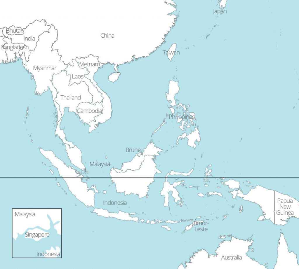 Map of Southeast Asian countries - white