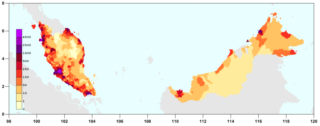 Population density in Malaysia in 2010