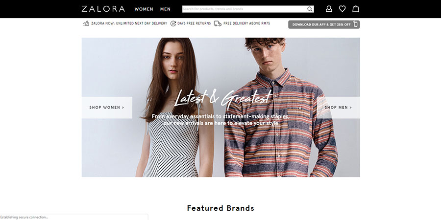 Zalora Malaysia website