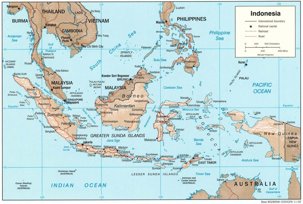 Physical map of Indonesia (2002)