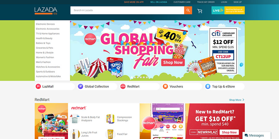Lazada Singapore website