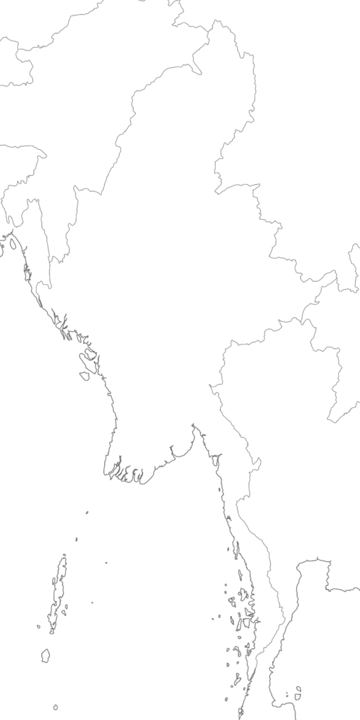 Large Myanmar blank map with borders and coasts outlines