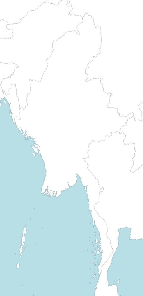 Large Myanmar blank map with countries borders