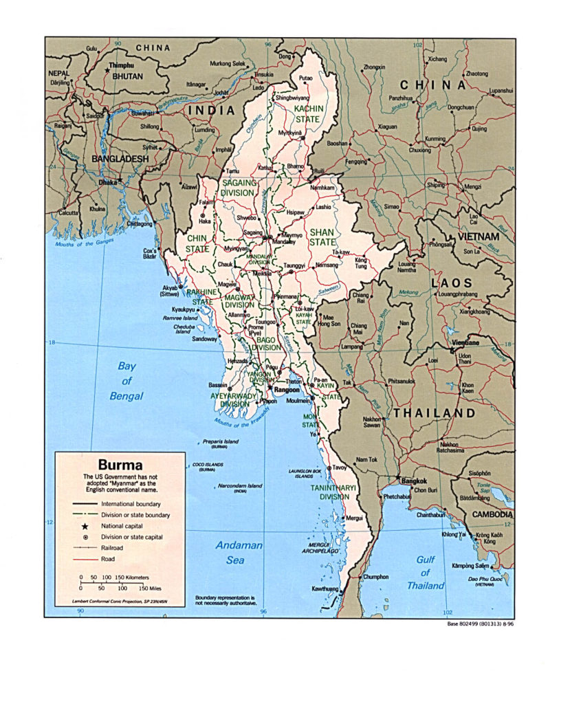 Political map of Myanmar 1996