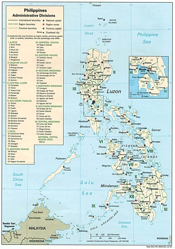 Administrative divisions map of the Philippines (1993)