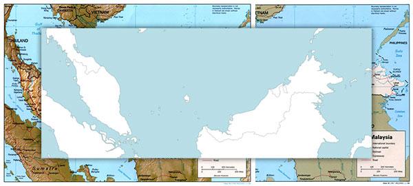 Free maps of Malaysia