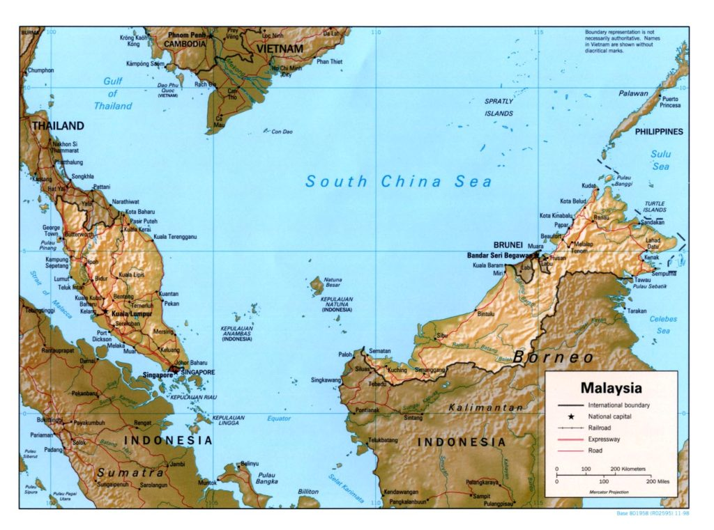Physical map of Malaysia 1998
