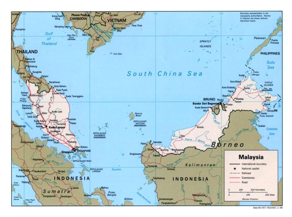Political map of Malaysia 1998