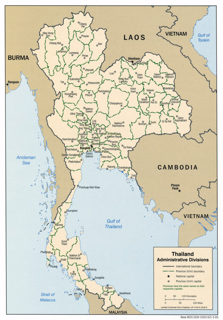Administrative divisions map of Thailand 2002