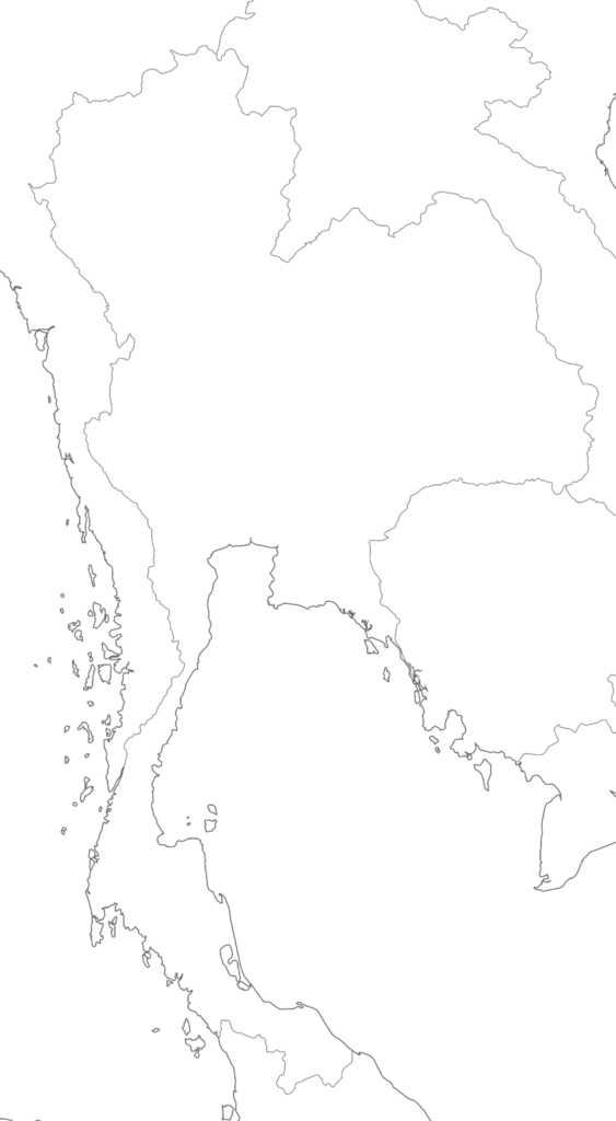 Large Thailand blank map with borders and coasts outlines