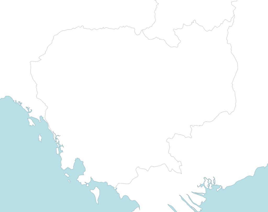 Large Cambodia blank map with countries borders