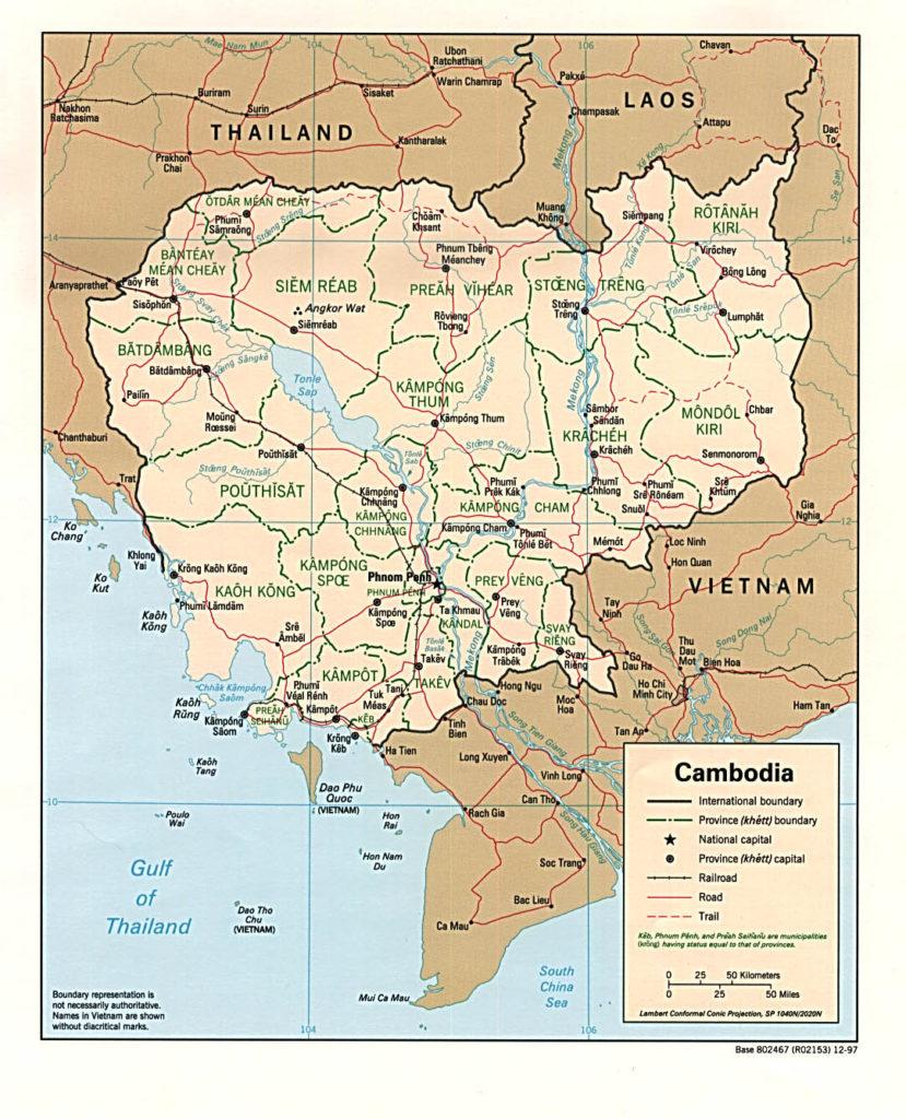 Political map ofCambodia 1997
