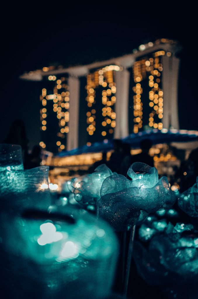 Marina Bay Sands with light flowers
