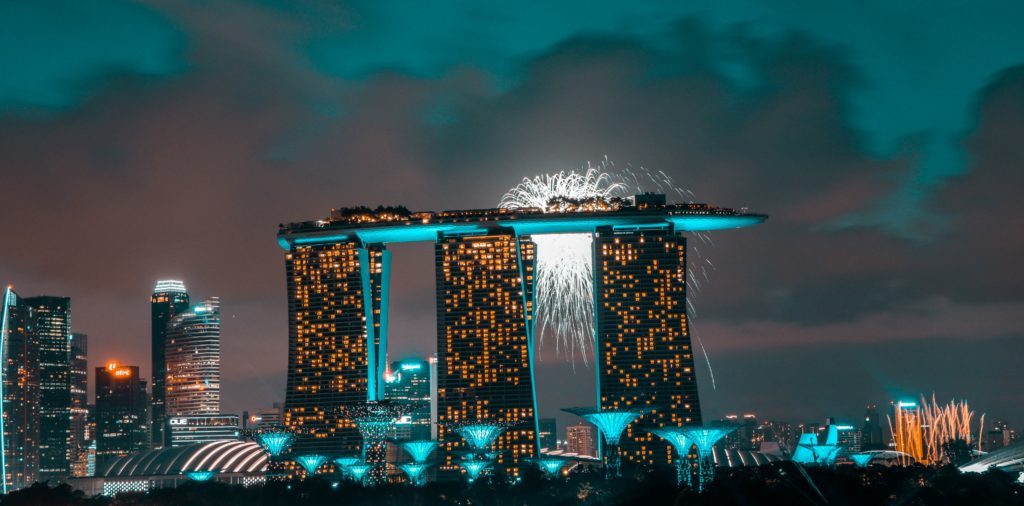 Marina Bay Sands with fireworks