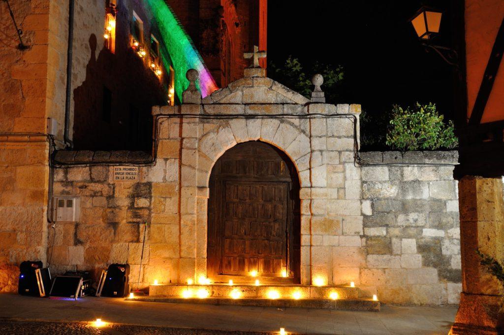 Church entrance by night