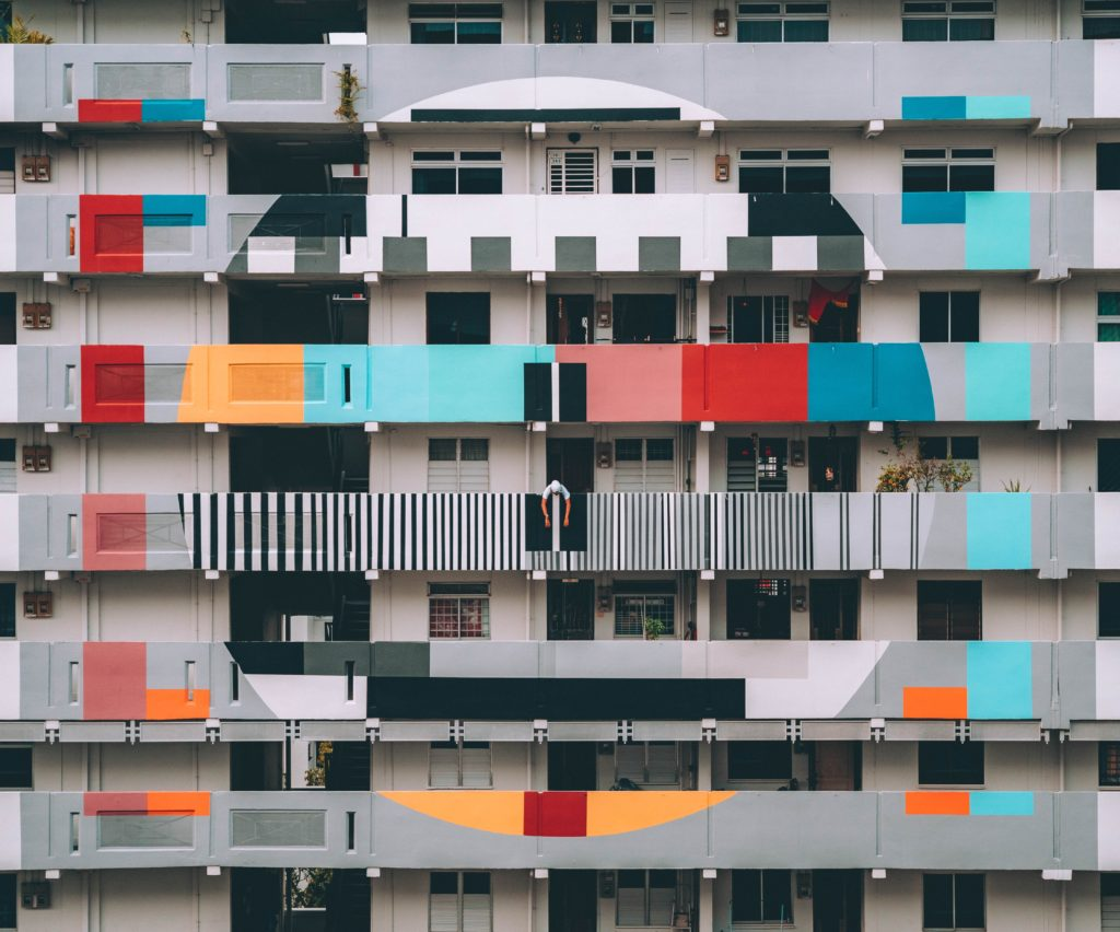 Singapore architecture with modern art facade