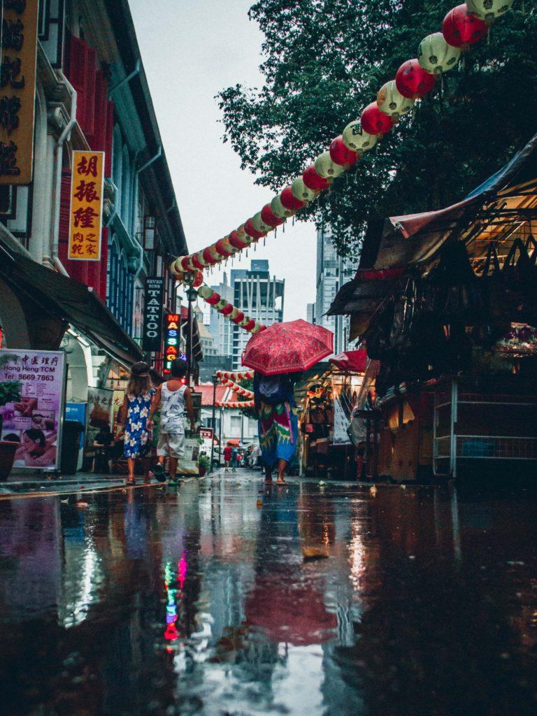 Singapore Chinatown under the rain