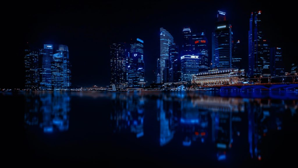 Singapore skyline in blue light