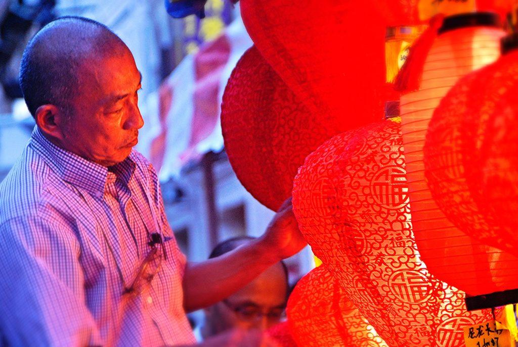 Singaporean man with lanterns