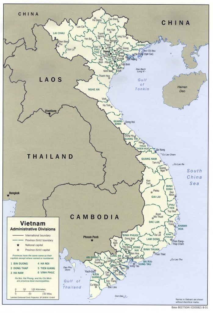 Administrative divisions map of Vietnam 2001
