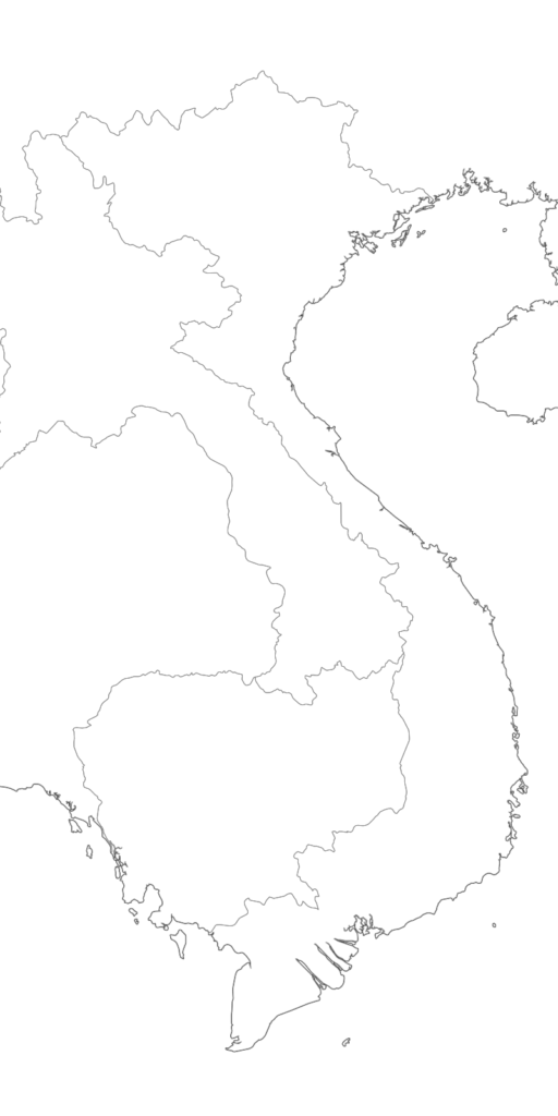Large Vietnam blank map with borders and coasts outlines