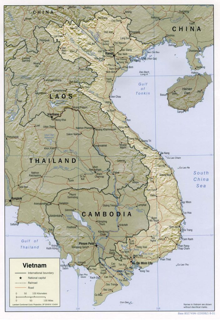 Physical map of Vietnam 2001