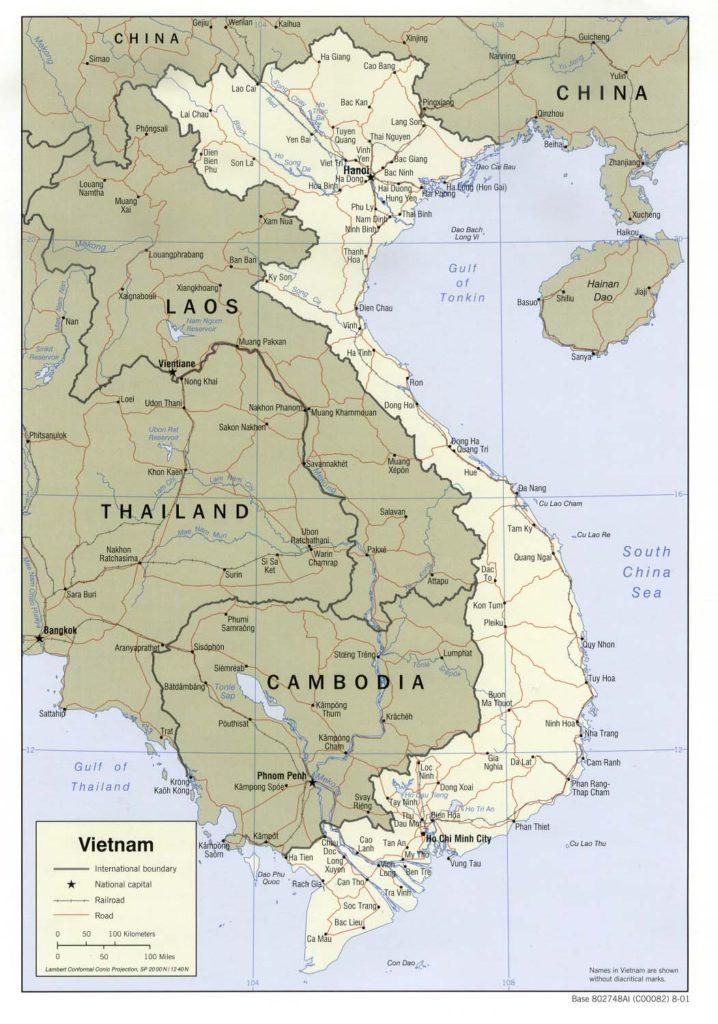Political map of Vietnam 2001