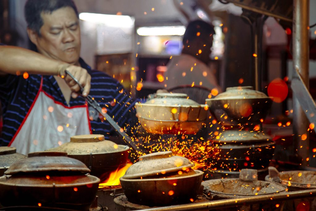 Malaysian man cooking