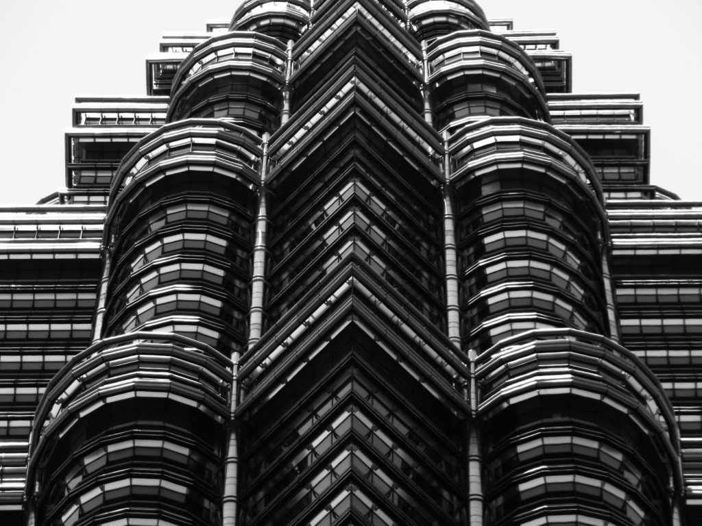 detailed view of one Petronas tower
