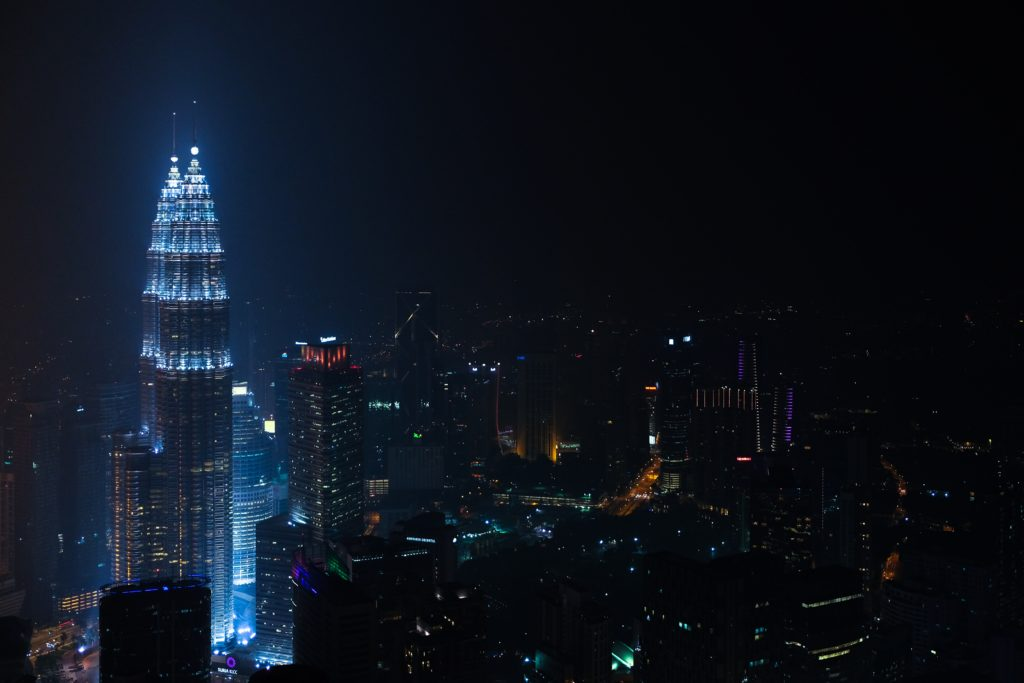 the Petronas towers in blue light