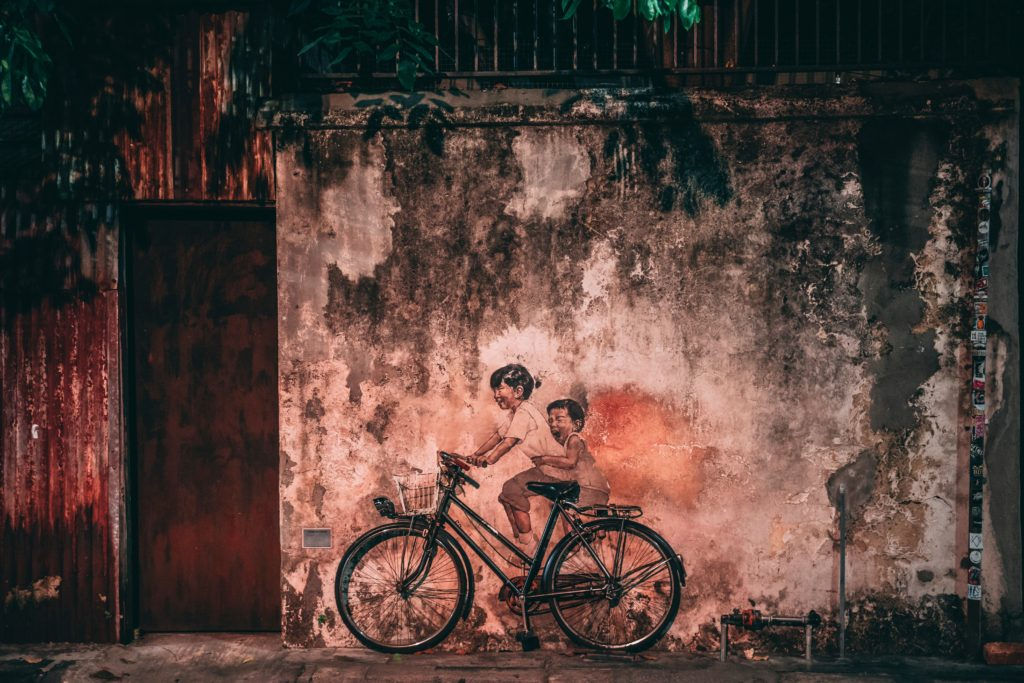Malaysian street art with a bicycle