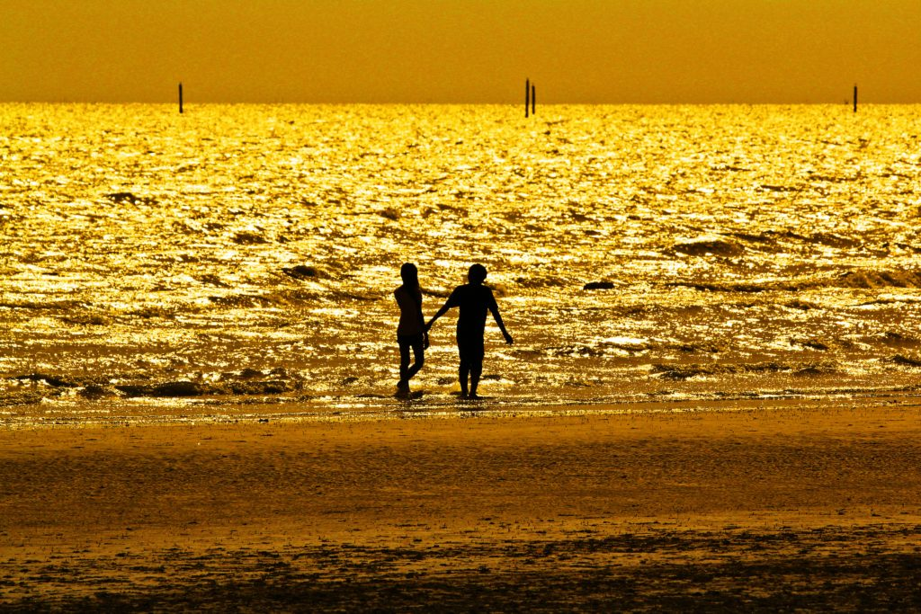 Beach with golden light