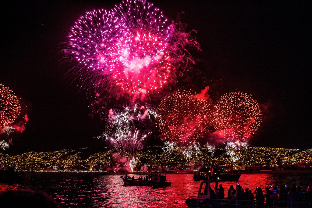Fireworks on the sea