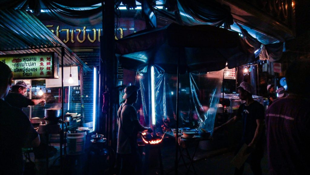 Food stalls at night