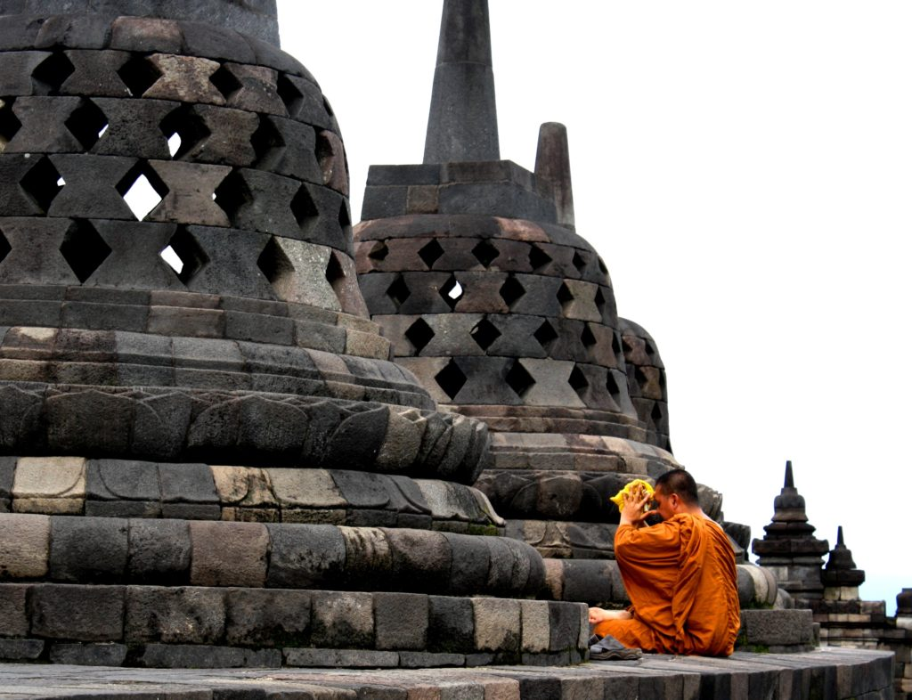 buddhist monk at borobudur